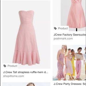 J. Crew strapless 2017 pink seersucker dress 00